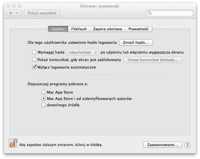 Ustawienia prywatności w systemie MAC OSX